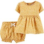 Baby Girl Carter's 2-Piece Linen Top & Bubble Short Set