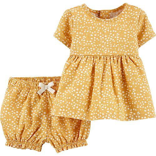 Baby Girl Carter's 2-Piece Linen Top & Bubble Short Set