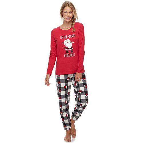 Women's Jammies For Your Families Jolly Santa Family Tee & Pants Pajama Set