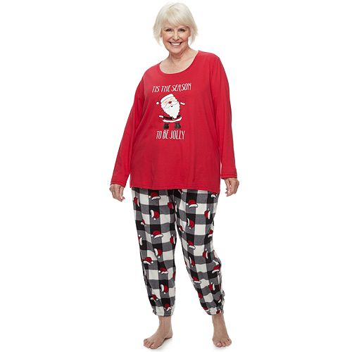 Plus Size Jammies For Your Families Jolly Santa Family Tee & Pants Pajama Set