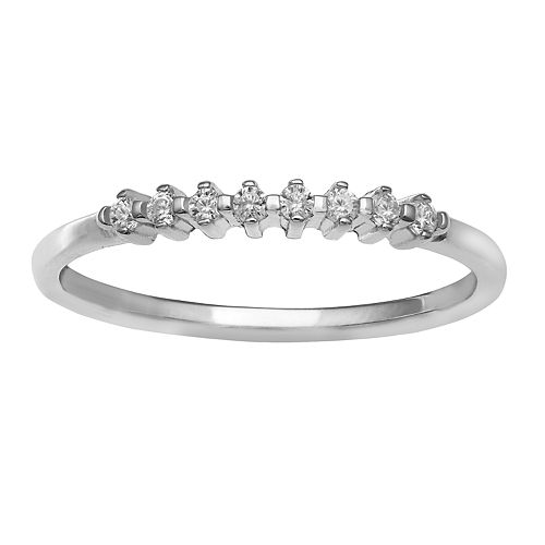 PRIMROSE Sterling Silver Cubic Zirconia Polished Band Ring