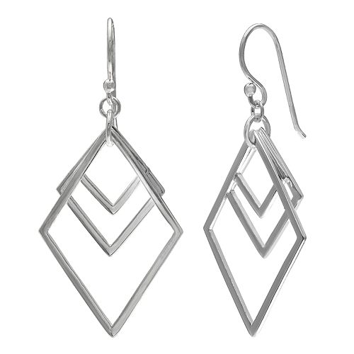 PRIMROSE Sterling Silver Triple Diamond Shape Drop Earrings