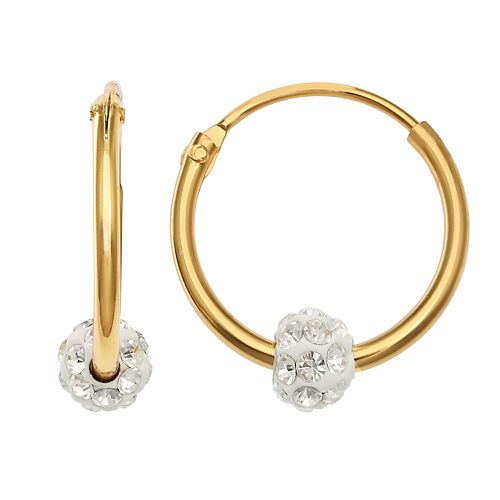 PRIMROSE Sterling Silver 18K Gold Plated Endless Hoop With Crystal Fireball Earrings
