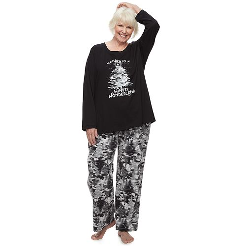 Plus Size Jammies For Your Families Camo Family Tee & Pants Pajama Set