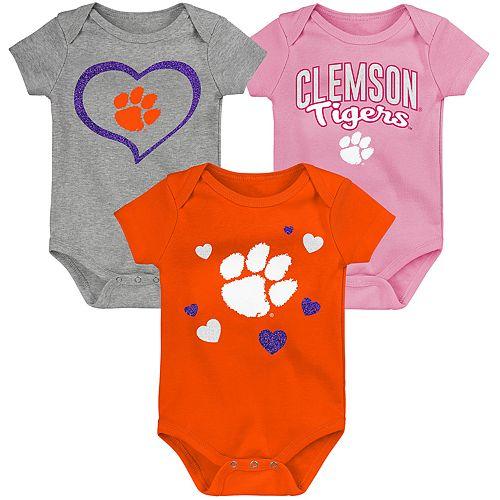 "Girl's NCAA Clemson Tigers Baby ""Champ"" Bodysuit 3-Pack"
