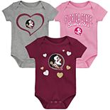 "Girl's NCAA Florida State Seminoles Baby ""Champ"" Bodysuit 3-Pack"
