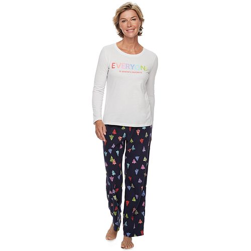 Women's Jammies For Your Families Everyone is Santa's Fave Family Tee & Pants Pajama Set