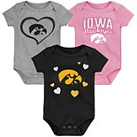 "Girl's NCAA Iowa Hawkeyes Baby ""Champ"" Bodysuit 3-Pack"