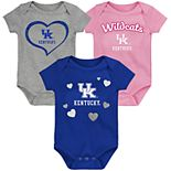"Girl's NCAA Kentucky Wildcats Baby ""Champ"" Bodysuit 3-Pack"