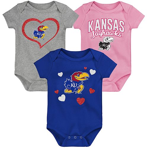 """Girl's NCAA Kansas Jayhawks Baby """"Champ"""" Bodysuit 3-Pack"""
