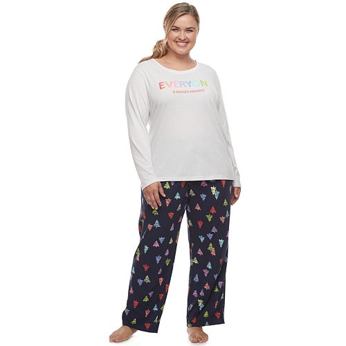Plus Size Jammies For Your Families Everyone is Santa's Fave Family Tee & Pants Pajama Set