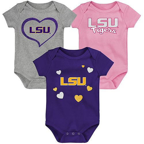 "Girl's NCAA LSU Tigers Baby ""Champ"" Bodysuit 3-Pack"
