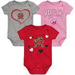 "Girl's NCAA Maryland Terrapins Baby ""Champ"" Bodysuit 3-Pack"