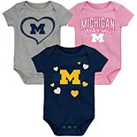 "Girl's NCAA Michigan Wolverines Baby ""Champ"" Bodysuit 3-Pack"
