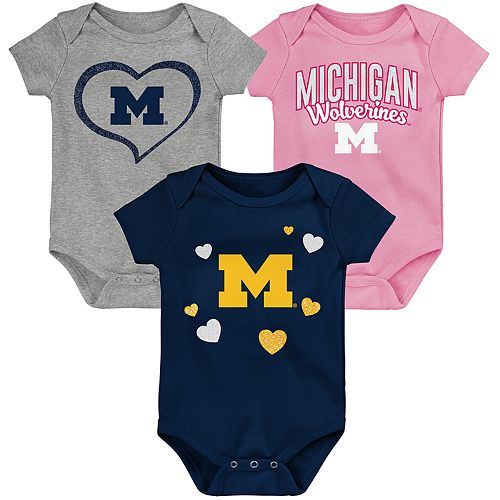 "Girl's NCAA Michigan Wolverines Baby ""Champ"" Bodysuit 3-Pack"