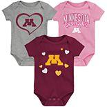"""Girl's NCAA Minnesota Golden Gophers Baby """"Champ"""" Bodysuit 3-Pack"""