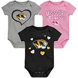 "Girl's NCAA Missouri Tigers Baby ""Champ"" Bodysuit 3-Pack"