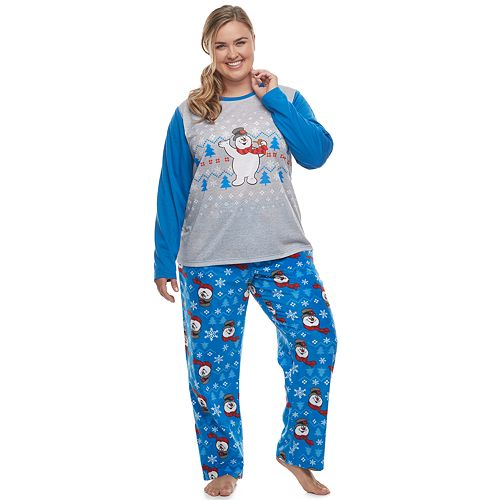 Plus Size Jammies For Your Families Frosty the Snowman Top & Bottoms Pajama Set