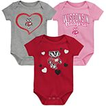 "Girl's NCAA Wisconsin Badgers Baby ""Champ"" Bodysuit 3-Pack"
