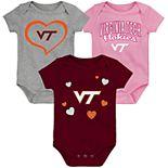 "Girl's NCAA Virginia Tech Hokies Baby ""Champ"" Bodysuit 3-Pack"