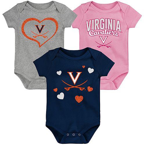 "Girl's NCAA Virginia Cavaliers Baby ""Champ"" Bodysuit 3-Pack"