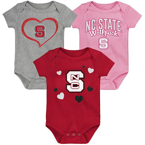 "Girl's NCAA North Carolina State Wolfpack Baby ""Champ"" Bodysuit 3-Pack"