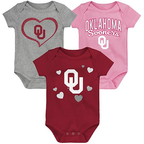 "Girl's NCAA Oklahoma Sooners Baby ""Champ"" Bodysuit 3-Pack"