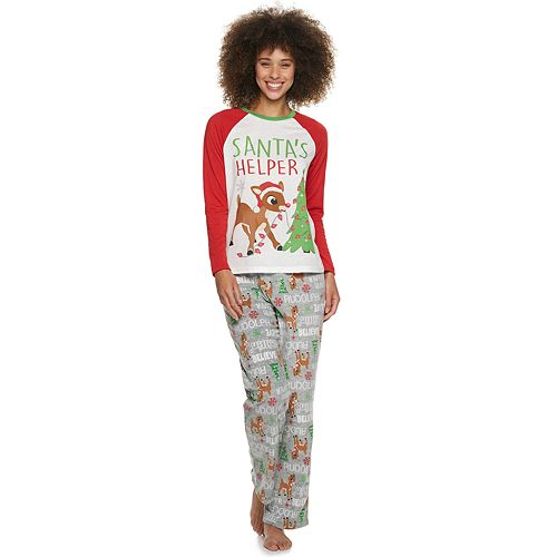Women's Jammies For Your Families Rudolph Top & Bottoms Pajama Set