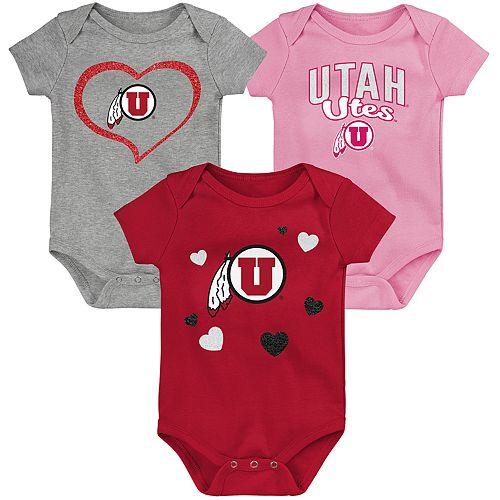 """Girl's NCAA Utah Utes Baby """"Champ"""" Bodysuit 3-Pack"""