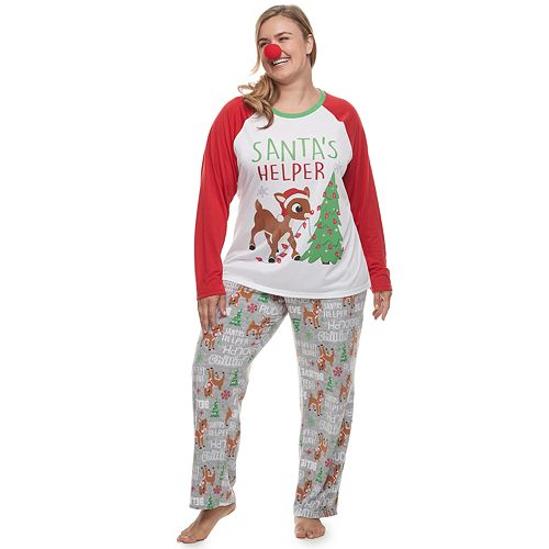 Plus Size Jammies For Your Families Rudolph Top & Bottoms Pajama Set