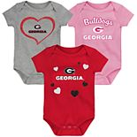 "Girl's NCAA Georgia Bulldogs Baby ""Champ"" Bodysuit 3-Pack"