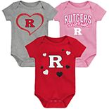 "Girl's NCAA Rutgers Scarlet Knights Baby ""Champ"" Bodysuit 3-Pack"