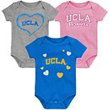 """Girl's NCAA UCLA Bruins Baby """"Champ"""" Bodysuit 3-Pack"""