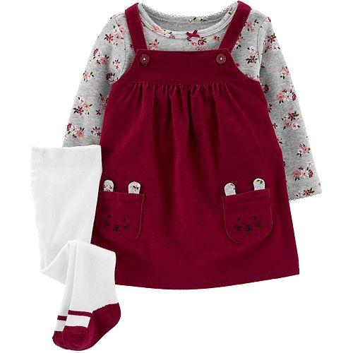 Baby Girl Carter's 3-Piece Floral Tee & Jumper Set