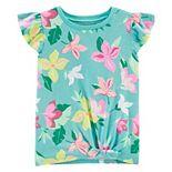 Girls Carter's Floral Tie-Front Jersey Tee