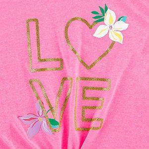 Girls Carter's Glitter Love Tie-Front Jersey Tee