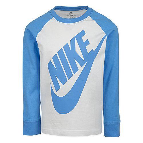 Boys' 4-7 Nike Long Sleeve Raglan Graphic T-Shirt Blue