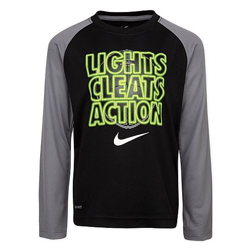 "Boys' 4-7 Nike Dri-FIT Long Sleeve ""Lights Cleats Action"" Graphic Tee"