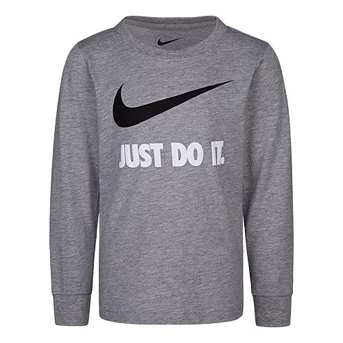 Boys' 4-7 Nike Long Sleeve Graphic T-Shirt Solid Gray