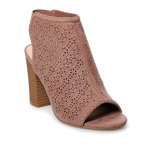 LC Lauren Conrad Hazelnut Women's Peep Toe Boots
