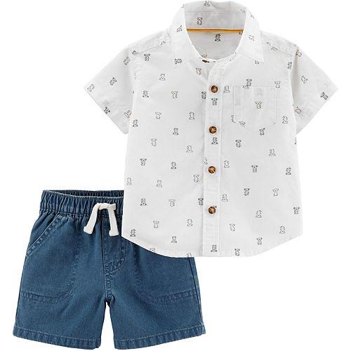 Baby Boy Carter's 2-Piece Bear Button-Front Top & Denim Short Set