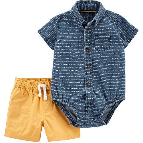 Baby Boy Carter's 2-Piece Denim Bodysuit & Poplin Short Set