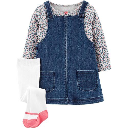 Baby Girl Carter's 3-Piece Floral Tee & Denim Jumper Set
