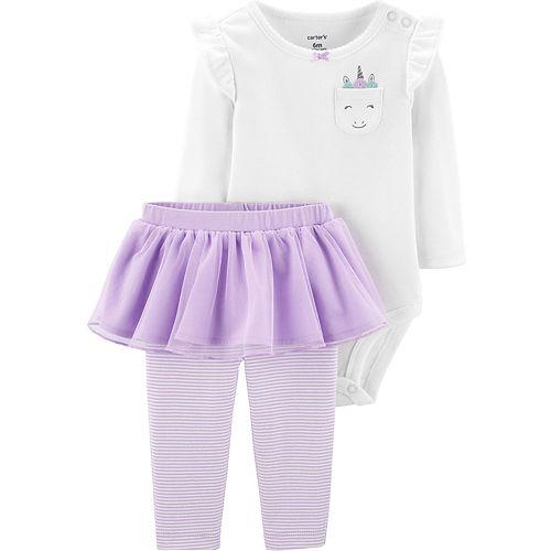 Baby Girl Carter's 2-Piece Unicorn Bodysuit & Tutu Pant Set