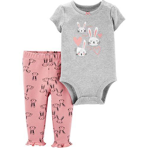 Baby Girl Carter's 2-Piece Bunny Bodysuit & Pants Set