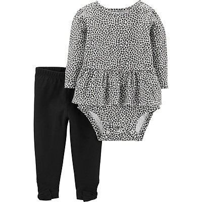 Baby Girl Carter's 2-Piece Leopard Peplum Bodysuit & Pants Set