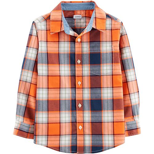 Boys 4-14 Carter's Orange Navy Plaid Button-Down