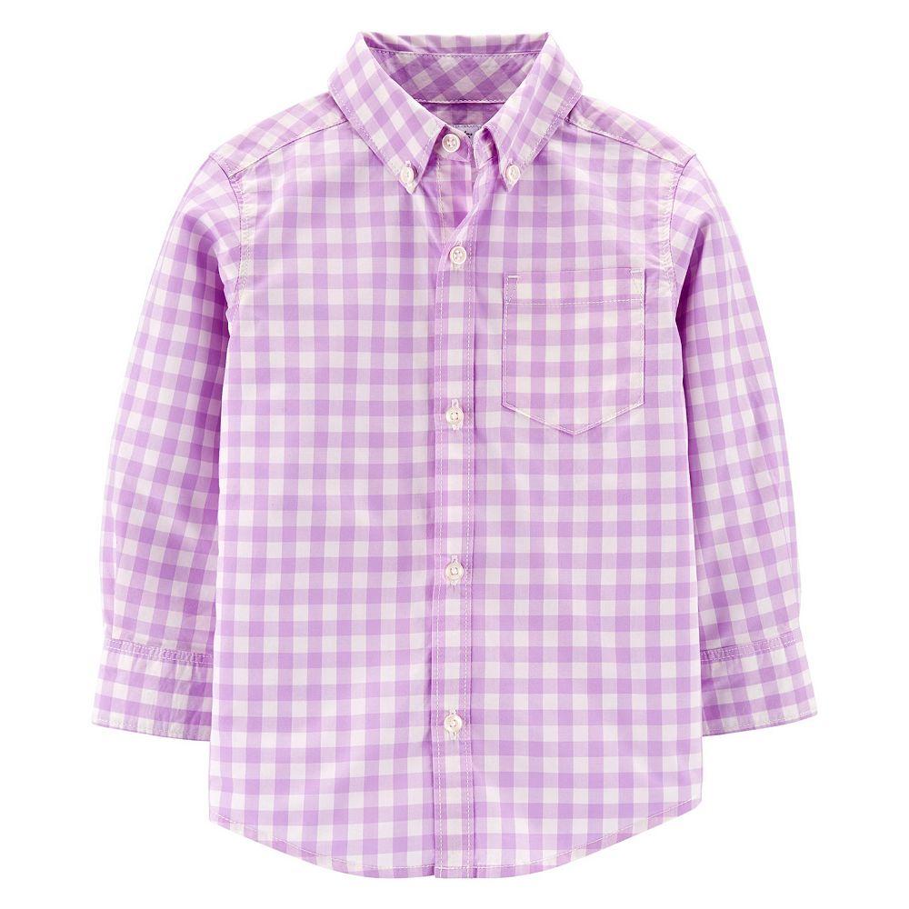 Toddler Boy Carter's Gingham Button-Front Poplin Shirt