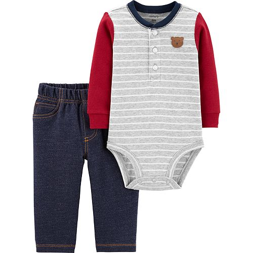 Baby Boy Carter's 2-Piece Bear Henley Bodysuit & Pants Set