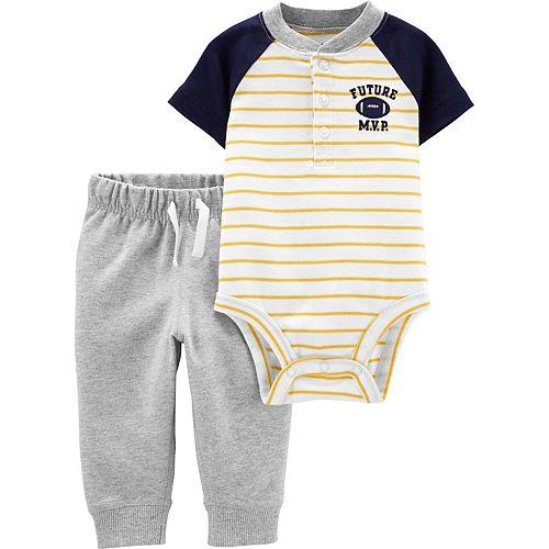 Baby Boy Carter's 2-Piece Football Henley Bodysuit & Pants Set